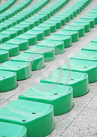 Green stadium seats