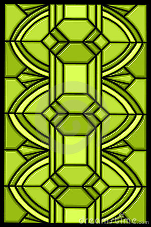 Green stained glass window design