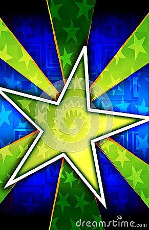 Green Star Burst Background