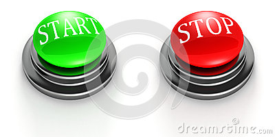 Green START and red STOP buttons on white