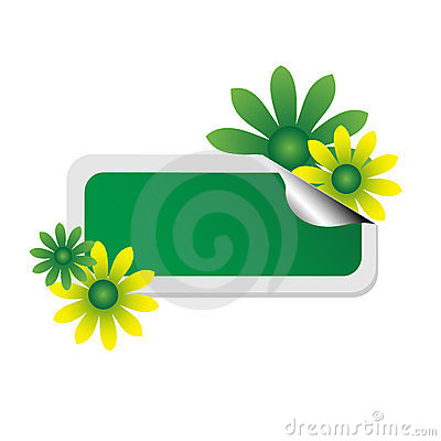 Green sticker with flowers