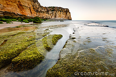 Green Stones at Porto de Mos Beach in Lagos, Algarve
