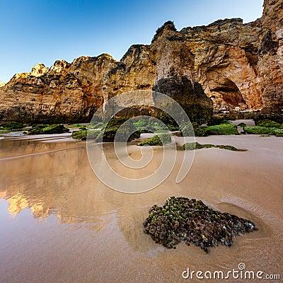 Green Stones at Porto de Mos Beach in Lagos, Algarve