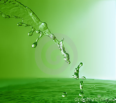 Green stream with splashes