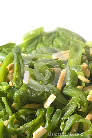 Green string beans French cut almond slivers