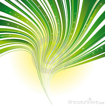Green stripe swirl background with stars