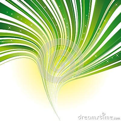 Green stripe swirl background with stars