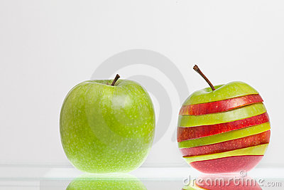 Green and striped apple