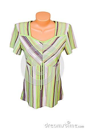 Green striped dress.