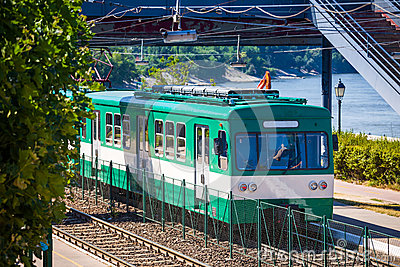 Green suburb train in Budapest