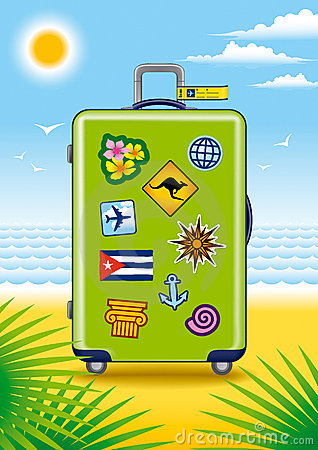 Green suitcase for travel with stickers