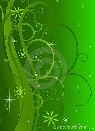 Green Swirls Sparkles Background