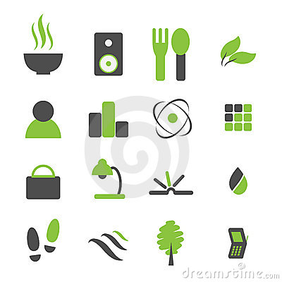 Free Green Symbol Icon Set For Comp Royalty Free Stock Photography - 5223987