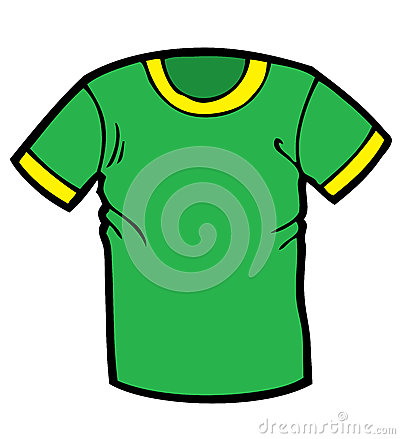 Cartoon illustration of a green and yellow T shirt. These can be used ...