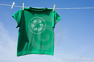 Green T-Shirt with Recycle Symbol