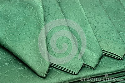 Green tablecloth and napkin
