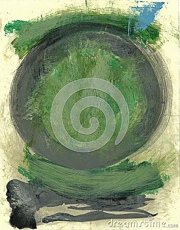 Free Green Tao Enso Circle Painting Royalty Free Stock Photography - 1390857