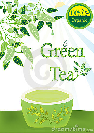 Green Tea 100 Percent Organic_eps Stock Images - Image: 19497864