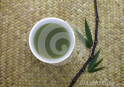 green tea bowl  with bamboo leaves