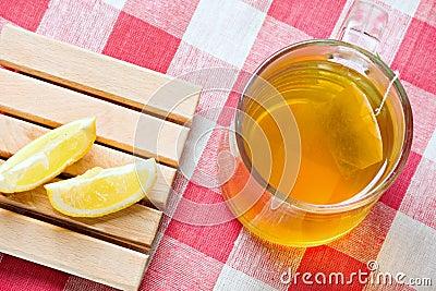 Green tea healthy drink and lemon