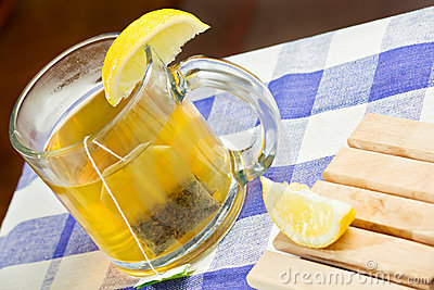 Green tea healthy drink and lemon