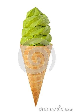 Free Green Tea Ice Cream Cone Stock Photo - 27014230