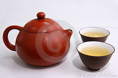 Green tea ,teapot and cups