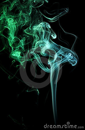 Green and teal smoke