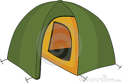 Green tent. Cartoon