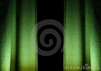 Green textured curtains