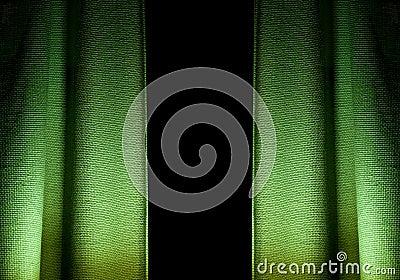 Green textured curtains