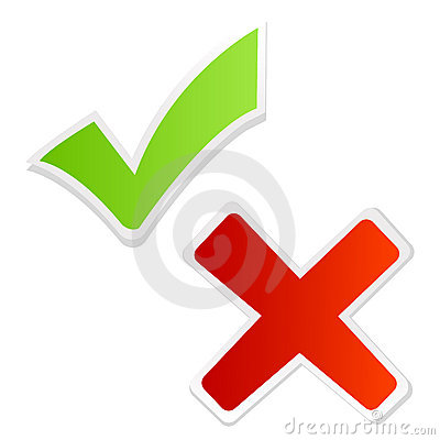 Green tick mark and red cross