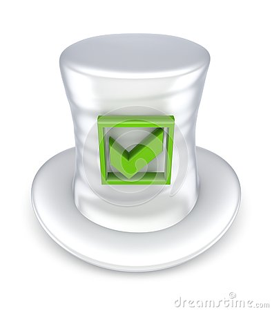 Green tick mark on white hat.