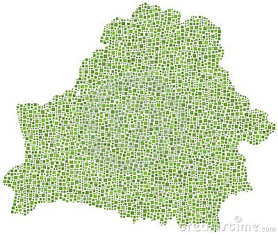 Green tiled map of Belarus