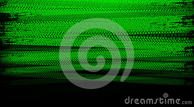 Green tire tracks Stock Photo