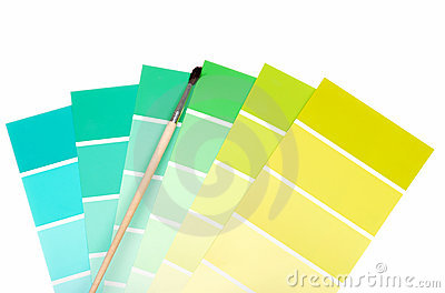 Green to blue color chips with paint brush