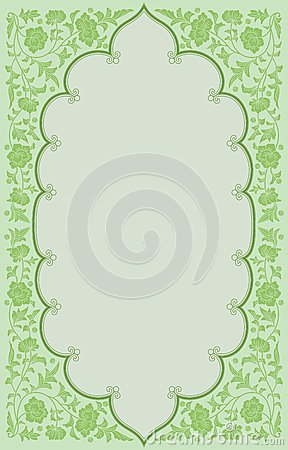 Green tone ancient flowoer frame background