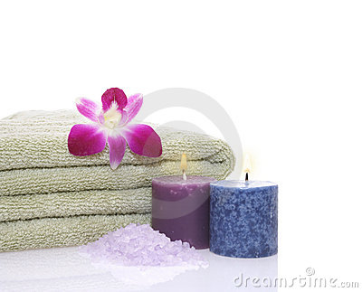 Green Towel, Candles,Orchid and Bath Salt