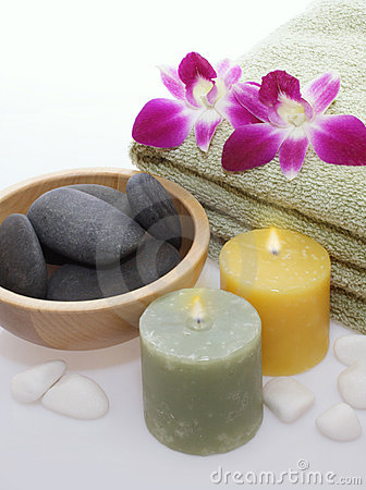 Green Towel, Orchid, Candles