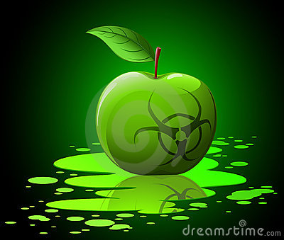 Green toxic apple with biohazard