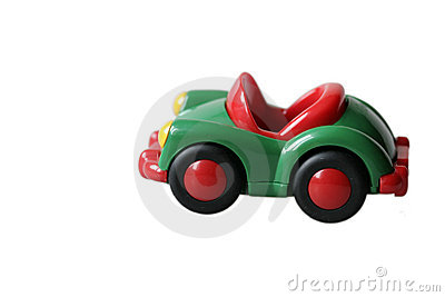 Green toys car in plastic