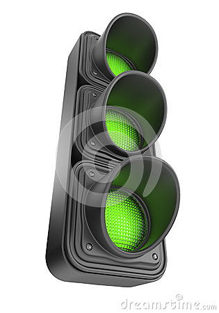 Green traffic lights 3d. Movement road contro