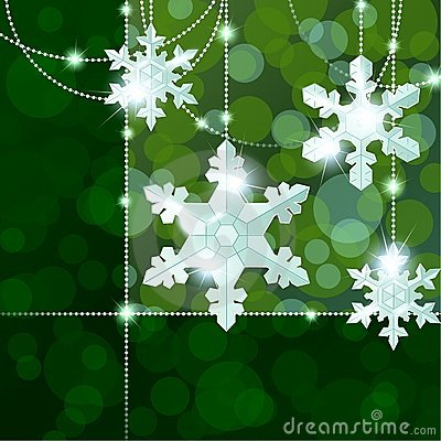 Green transparent banner with snowflake ornaments