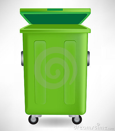 Green trash can with cap