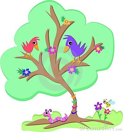 Green Tree with Birds, Worm and Bee
