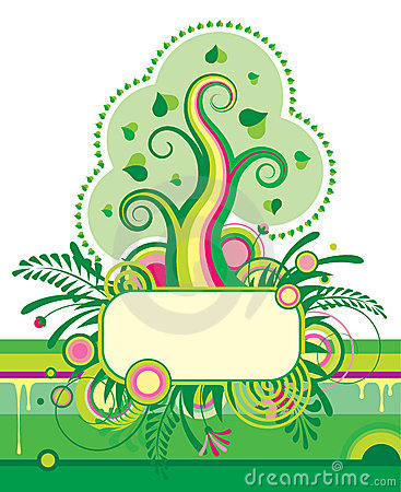 Green tree and a floral banner