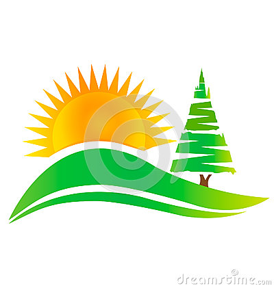 Green tree -hills and sun logo