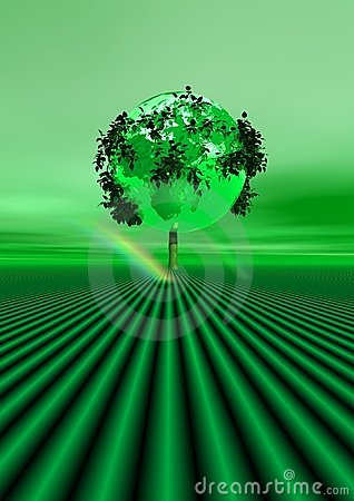 Green tree and rainbow Stock Photo