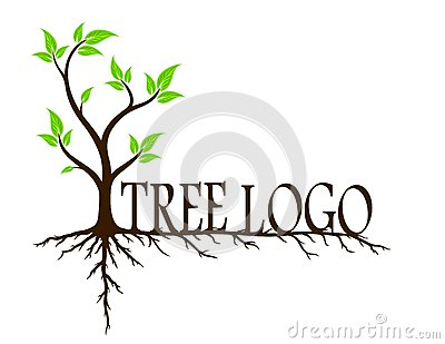 Green tree with roots. Vector Illustration