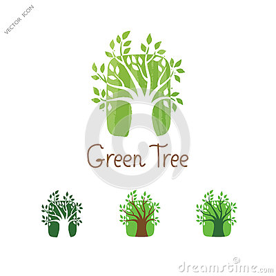 Green Tree vector logo design. Garden concept. Eco icon. Vector Illustration